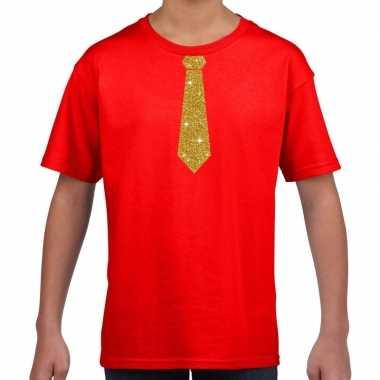 Rood t-shirt met gouden stropdas voor kinderen prijs