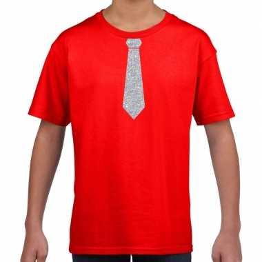Rood t-shirt met zilveren stropdas voor kinderen prijs