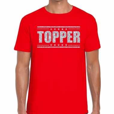 Rood topper shirt in zilveren glitter letters heren prijs