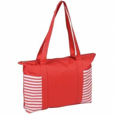 Rood/witte polyester strandtas met streepmotief en rits 44 cm prijs
