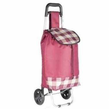 Roze boodschappentrolley geruit 95 cm prijs