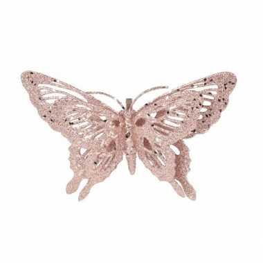 Roze deco vlinder met glitters 15 x 11 cm prijs