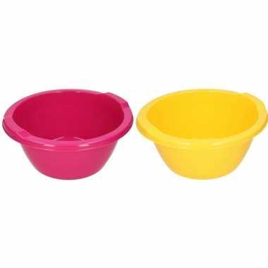 Roze en gele ronde afwasbak 6,5 l prijs