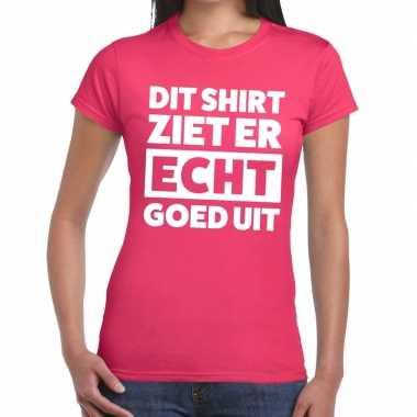 Roze feest t-shirt dit shirt ziet er echt goed uit roze voor dames pr