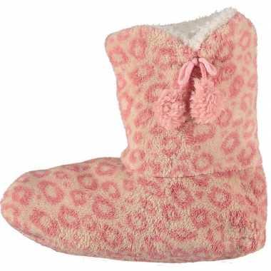 Roze hoge dames pantoffels/sloffen met luipaardprint prijs