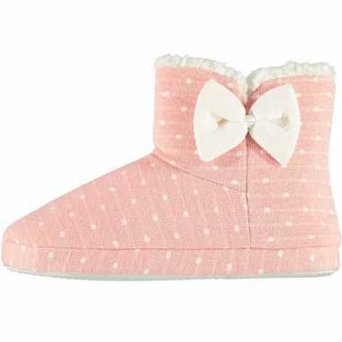 Roze hoge dames pantoffels/sloffen met stippenprint maat 37-38 prijs