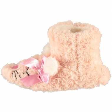Roze hoge meisjes pantoffels/sloffen muisje prijs