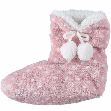 Roze hoge sloffen/pantoffels stippen voor meisjes maat 28-30 prijs