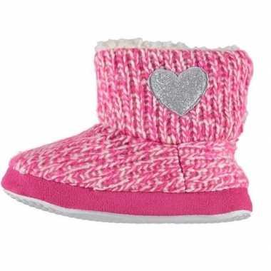 Roze hoge sloffen/pantoffels zilveren hart voor meisjes maat 25-26 pr