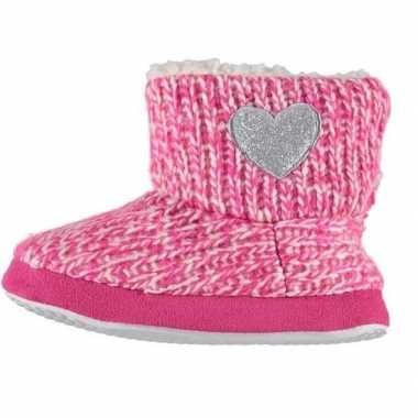 Roze hoge sloffen/pantoffels zilveren hart voor meisjes maat 29-30 pr