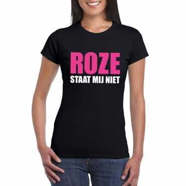 Roze staat mij niet fun t-shirt voor dames zwart prijs
