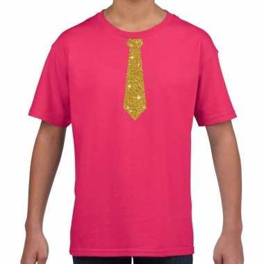 Roze t-shirt met gouden stropdas voor kinderen prijs