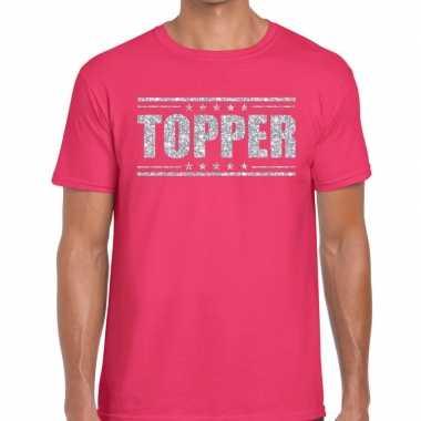 Roze topper shirt in zilveren glitter letters heren prijs