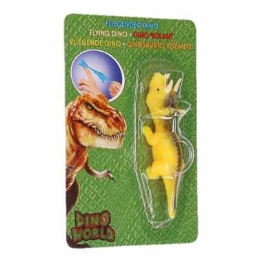 Rubberen gele speelgoed dino world vingerpoppetje triceratops prijs