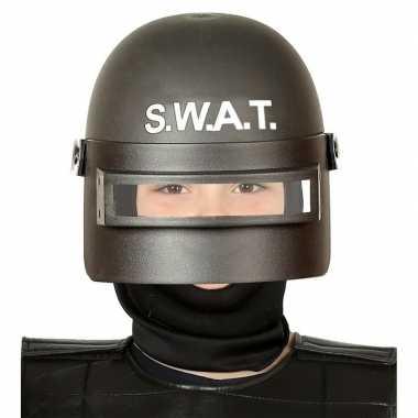 S.w.a.t. politie verkleed helm zwart voor kinderen prijs