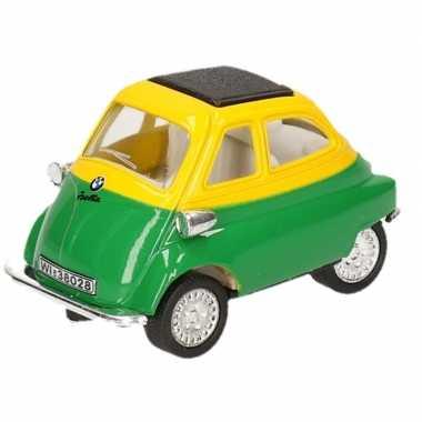 Schaalmodel bmw isetta groen/geel 6,5 cm prijs