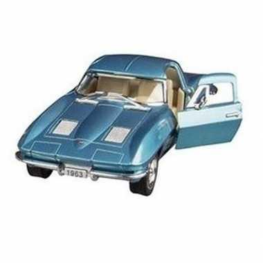 Schaalmodel chevrolet corvette blauw1963 13 cm prijs
