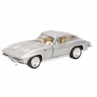 Schaalmodel chevrolet corvette zilver 1963 13 cm prijs