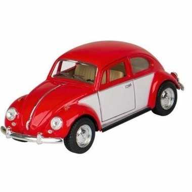 Schaalmodel volkswagen kever two-tone rood/wit 13 cm prijs