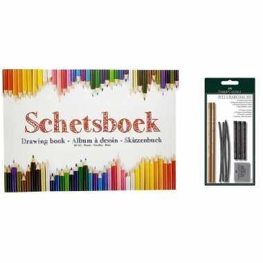Schetsboek a4 papier met houtskool tekenpakket prijs