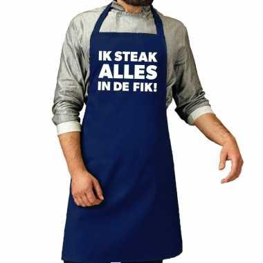 Schort ik steak alles in de fik kobalt blauw voor heren prijs