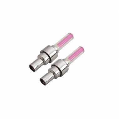 Set van 2 veiligheidslampjes roze incl. batterijen prijs