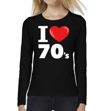 Seventies long sleeve shirt met i love 70s bedrukking zwart voor dame