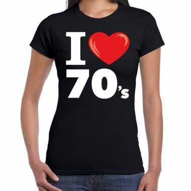 Seventies shirt met i love 70s bedrukking zwart voor dames prijs