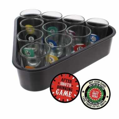 Shotglaasjes biljart drankspel/drinkspel 11 delig met plaats je shotg