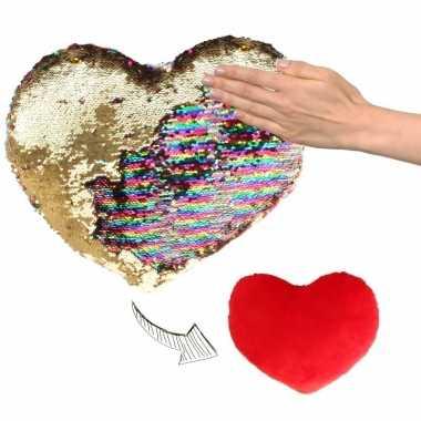 Sierkussen hartje goud/rood metallic met draaibare pailletten 30 cm p