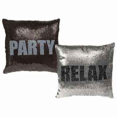 Sierkussen met pailletten party/relax 40 x 40 cm prijs