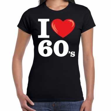 Sixties shirt met i love 60s bedrukking zwart voor dames prijs