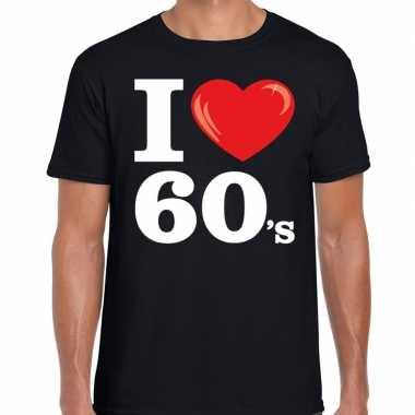 Sixties shirt met i love 60s bedrukking zwart voor heren prijs