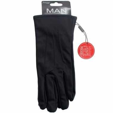 Smartphone handschoenen zwart imitatieleer voor heren prijs