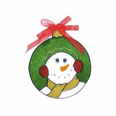 Sneeuwpop raam versiering 18 cm prijs