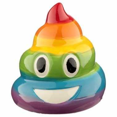 Spaarpot/beeldje emoji drol regenboog 11 cm prijs