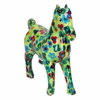 Spaarpot paard groen/gekleurde bloemen print 21 cm prijs