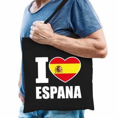 Spanje schoudertas i love espana zwart katoen prijs