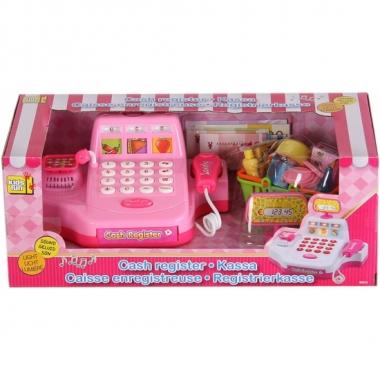 Speelgoed winkeltje kassa roze met boodschappen prijs