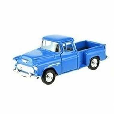 Speelgoedauto chevrolet 1955 stepside blauw 1:34 prijs