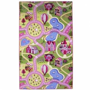 Speelkleed voor meiden roze dorpje 100 x 165 cm prijs