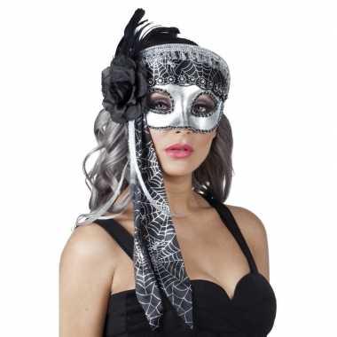 Spinnenweb halloween oogmasker glitter zwart/zilver prijs