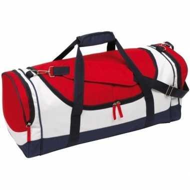 Sporttas met ritsen 45 liter blauw/rood/wit prijs