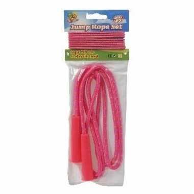 Springtouw en elastiek in neon roze prijs
