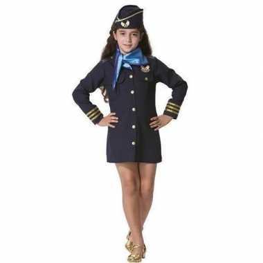 Stewardessen verkleed jurkje met pet en sjaal voor meisjes prijs