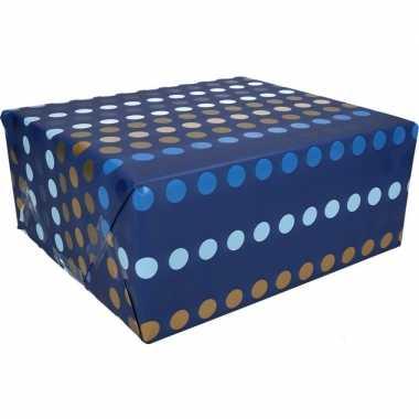 Stippen motief cadeaupapier blauw 70 x 200 cm type 4 prijs
