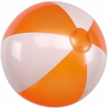 Strandbal opblaasbaar oranje/wit prijs