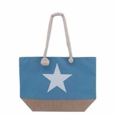 Strandtas blauwe met witte ster 55 cm prijs