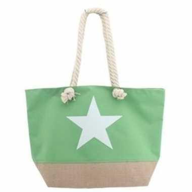 Strandtas lime groen met witte ster 55 cm prijs