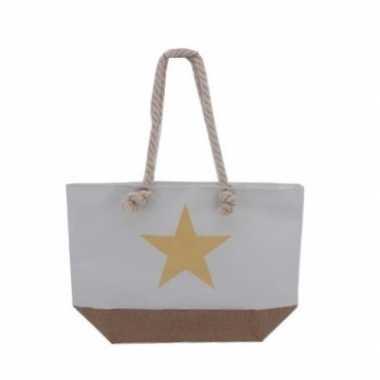 Strandtas wit met gouden ster 55 cm prijs